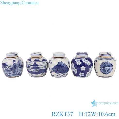 RZKT37-Series Chinese blue and white multi-pattern ceramic storage pot sets