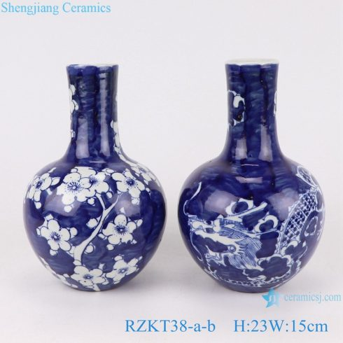 RZKT38-a-b Chinese blue and white porcelain vase multiple patterns set