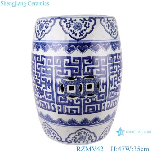 RZMV42 Chinese blue and white plaid pattern porcelain stools
