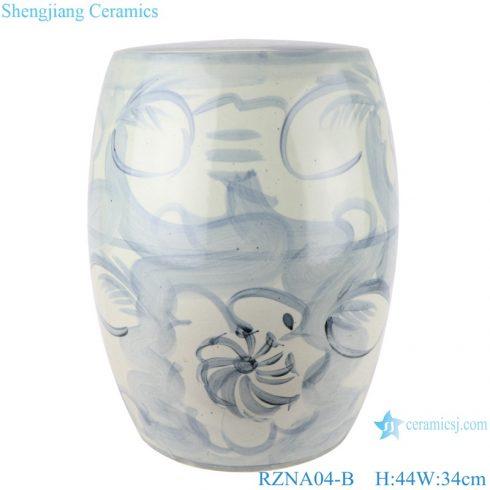RZNA04-B Chinese handmade light blue pattern porcelain stools