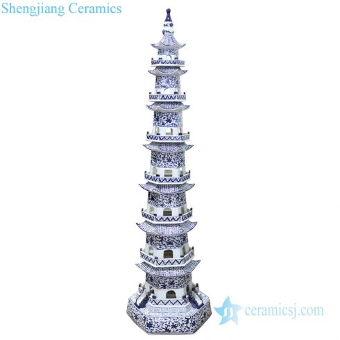 RZPI43 Chinese ancient times pure hand made ceramic decorative pagoda