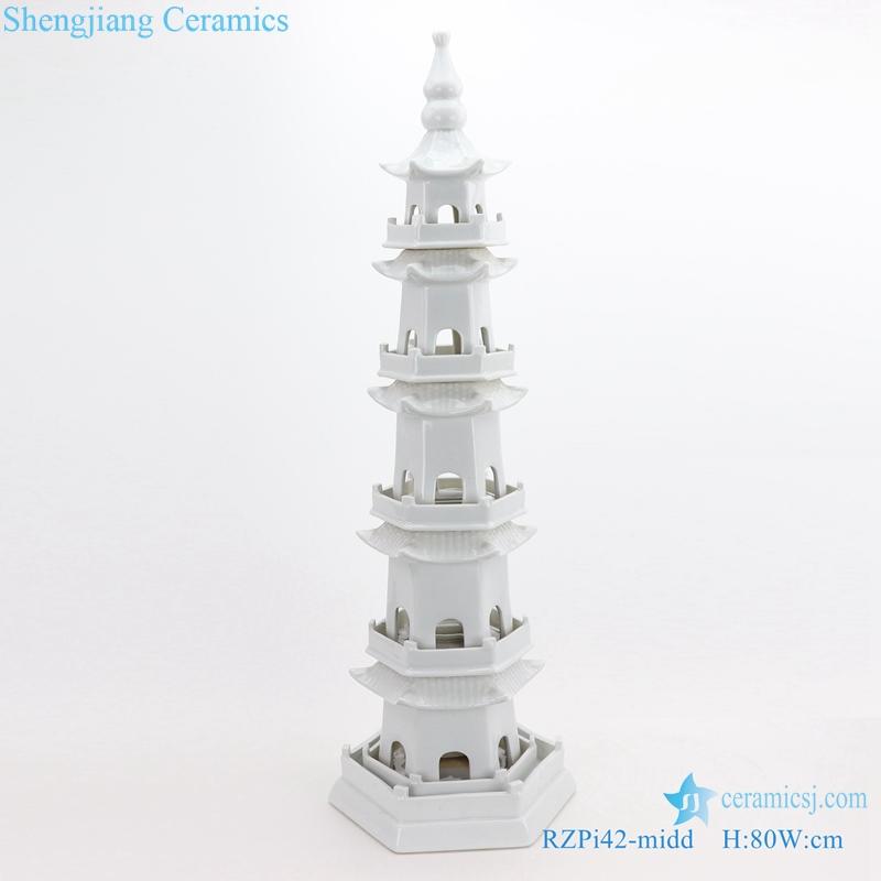 RZPi42 WHITE ancient times pure hand made ceramic decorative pagoda