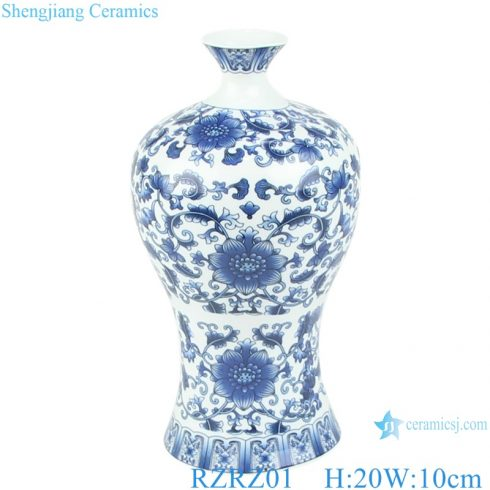 RZRZ01 wholesale cheap classic floral blue and white ceramic vase for decoration