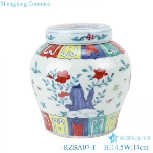 RZSA07-F Chinese powder enamel flower chick pattern porcelain storage pot