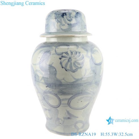DS-RZNA19 Blue and white porcelain handmade large porcelain ceramic temple jar storage ginger jars with lid