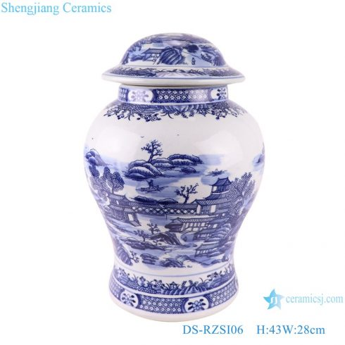 Blue and white landscape jar ceramic table lamp storage vase jars