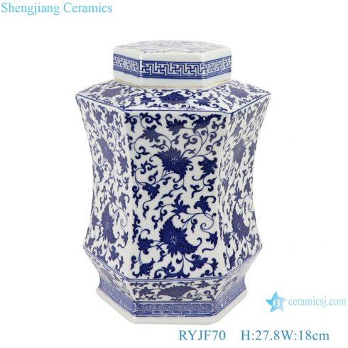 RYJF70 Blue and white porcelain ceramic hexagonal branch storage pot jars