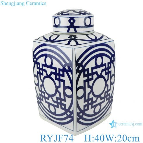 RYJF74 Blue and white square porcelain pot with geometric design