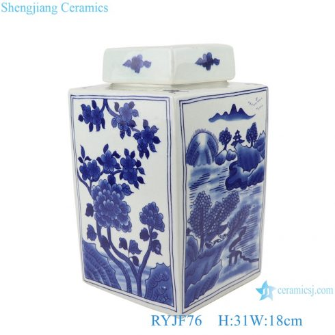 Blue&white porcelain flowers and birds landscape pattern square pot tea canister with cover