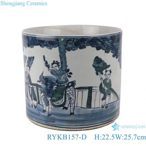 RYKB157-D Antique blue and white porcelain people design multi-pattern ceramic storage pen holder