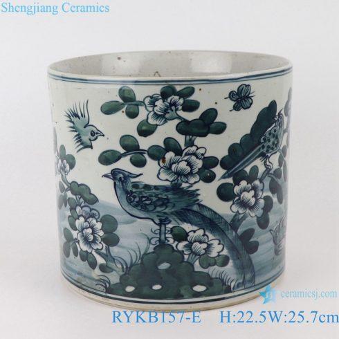 RYKB157-E Antique blue and white porcelain flower bird design multi-pattern round ceramic pen holder