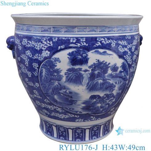 RYLU176-J Blue and white ceramic window open lion head landscape pattern fish tank