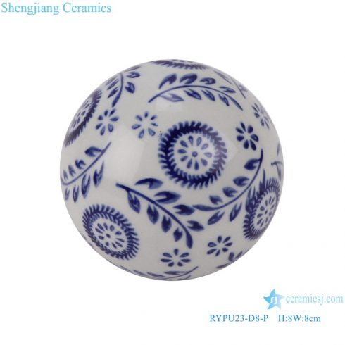 RYPU23-D8-P Blue and white Christmas tree leaf pattern floating ceramic small ball