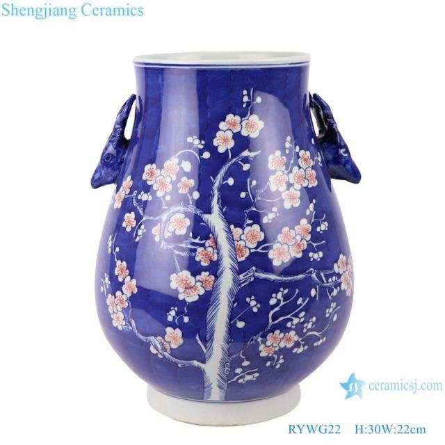 RYWG22 Vintage blue and white porcelain Ice plum flower pattern porcelain vases for home decor