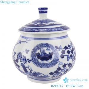RZBO13 Antique Blue and white flowers&birds multi-pattern Porcelain tea canister storage tank