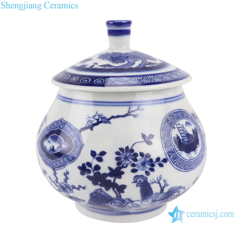 RZBO13 Blue and white flowers&birds multi-pattern tea canister storage tank