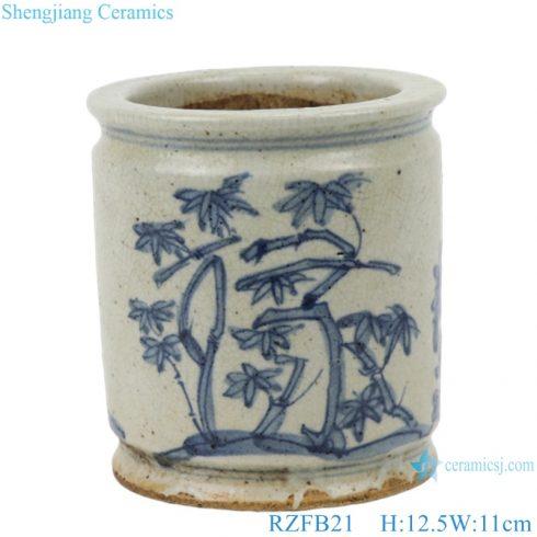 RZFB21 Chinese blue and white porcelain bamboo pattern pen holder vase ceramic