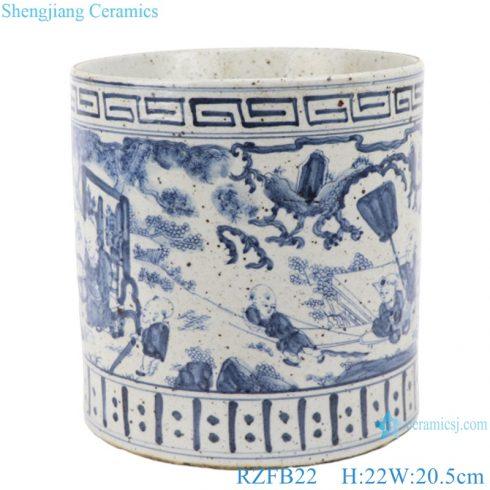 RZFB22 Chinese handmade blue and white porcelain antique vase flower planter garden pot