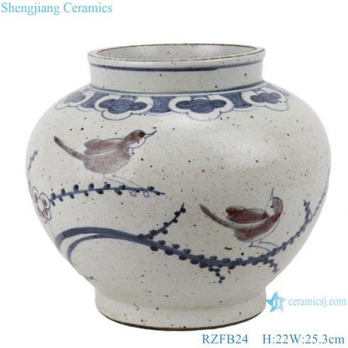 RZFB24 Bird flower hand painted porcelain antique blue and white vase