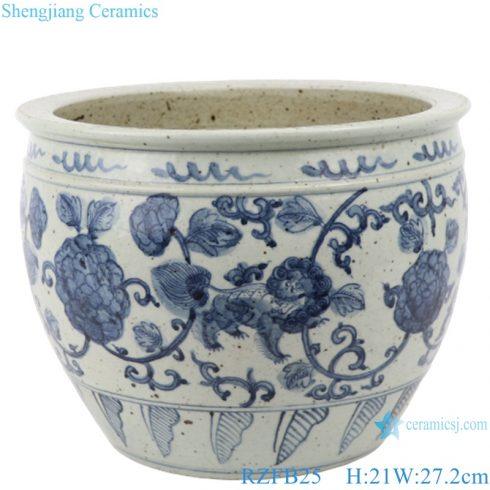 RZFB25 Twinning floral Lion hand painted porcelain antique blue and white luxury vase pot