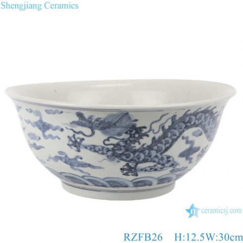 RZFB26 Blue and white porcelain old style antique ceramic bowl on table pot