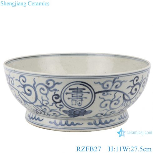 RZFB27 Blue and white twinning flowers with long life character old style antique ceramic bowl
