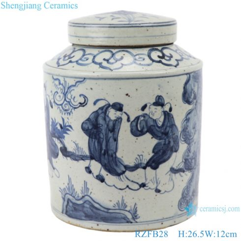 RZFB2 8_Antique handmade blue and white porcelain old style storage jar decorations for home