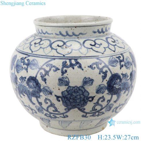 RZFB30 Chinese blue and white porcelain vintage style flower pot vase