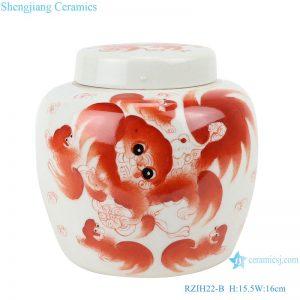 RZIH22-B Chinese The alum red lion grain storage jars tea pot