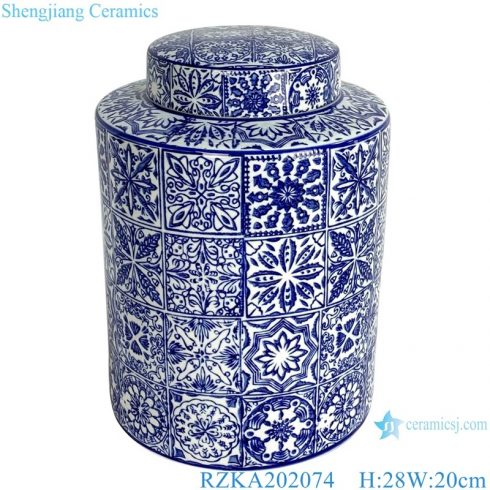 RZKA202074 Antique straight blue and white porcelain medium round storage jar with lid