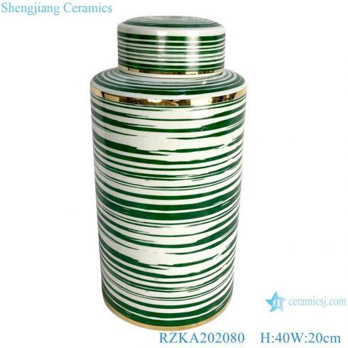 RZKA202080 Antique Straight tube color green glazed line gilt edged jar