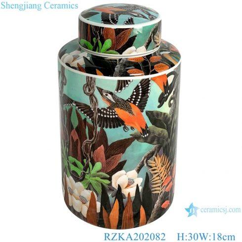 RZKA202082 Antique Bird lotus flower Straight tube medium round storage jar