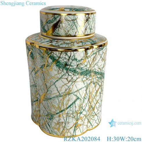 RZKA202082 Jingdezhen Home decoration Straight tube flower and bird gold line medium round storage jar