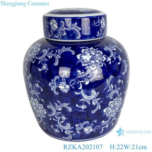 RZKA202107 Blue and white porcelain twinning flower pot storage jars with blue background