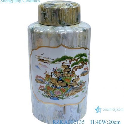RZKA202135 Antique Landscape Bird Pattern Round Storage jar with marble pattern, pine and crane