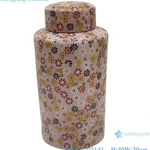 RZKA202141 Jindezheng Ceramic storage jars Pink flowers embellished tall porcelain large pots