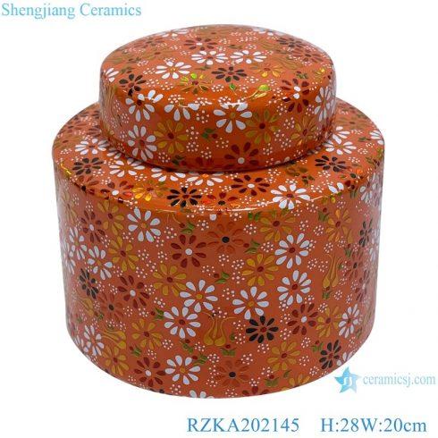 RZKA202145 Classic Orange family rose flower pattern medium ceramic storage jars pot