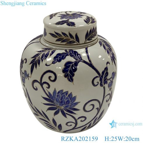 RZKA202159 White glazed family rose ceramic flower design storage pot jar