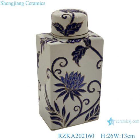 RZKA202160 Antique Flat flower  twinning design ceramic storage jars pot cuboid with cover