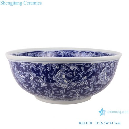 RZLE10 Handmade Blue and white porcelain ice plum butterfly pattern ceramic wash sink basin