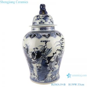 RZMA19-B_Qing Dynasty people kiln pure handmade blue and white double dragon porcelain ginger jars with lid