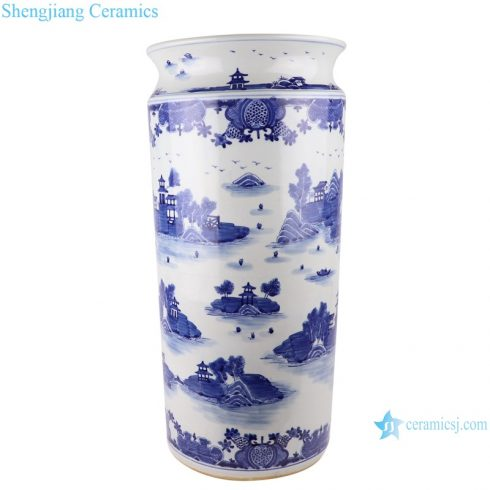 Blue and white wutong landscape pattern umbrella stand