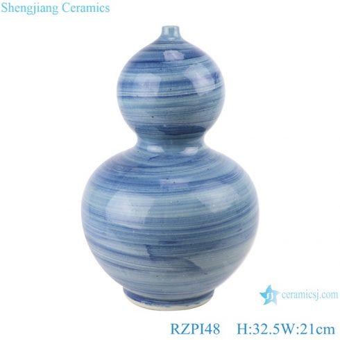 RZPI48 Chinese handmade ceramic blue striped decorative gourd vases