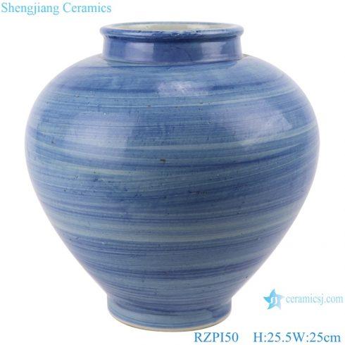 RZPI50 Chinese handmade craft porcelain vase blue striped home decoration storage jars