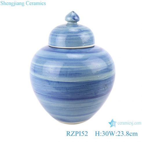 RZPI52 Chinese handmade Craft porcelain blue striped design porcelain pots storage jar with lid