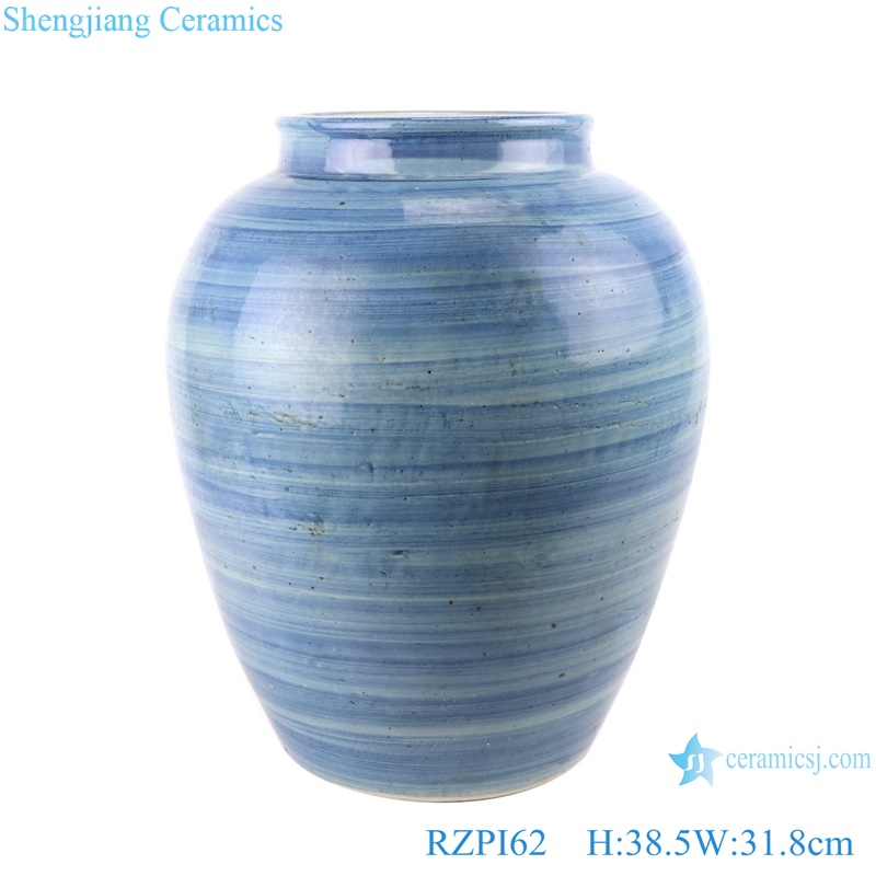 RZPI62 Jingdezhen handmade craft ceramic blue striped home decorative jar storage vase