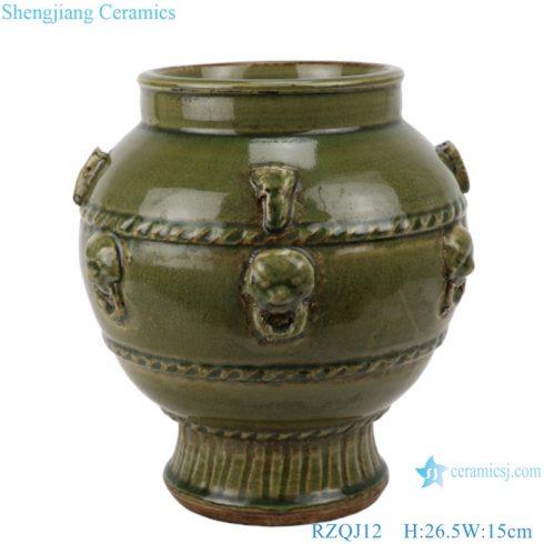RZQJ12 Antique green Chinese vintage style hand made glazed ceramic pot jars