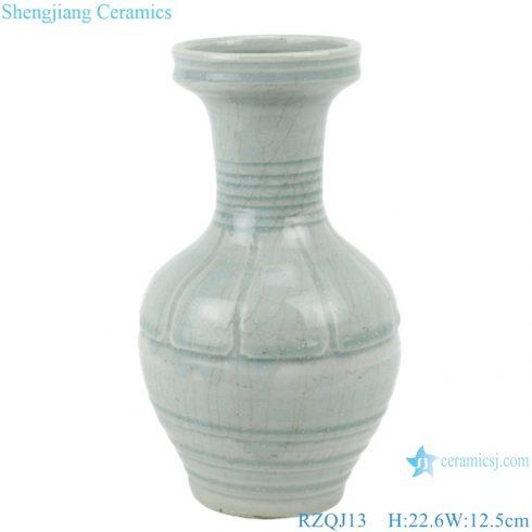 RZQJ13 Jingdezhen hand made plain color porcelain light grey glazed ceramic vase home decor