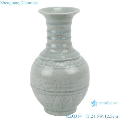 RZQJ14 Antique solid color vase light grey glazed hand made ceramic vase for home deco
