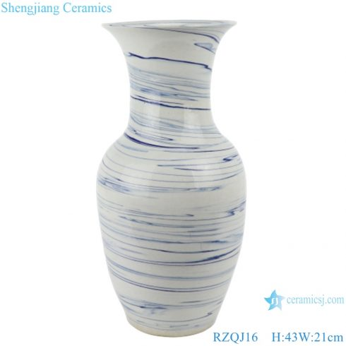 RZQJ16 Modern white color glazed blue line wave ceramic vases for home decoration